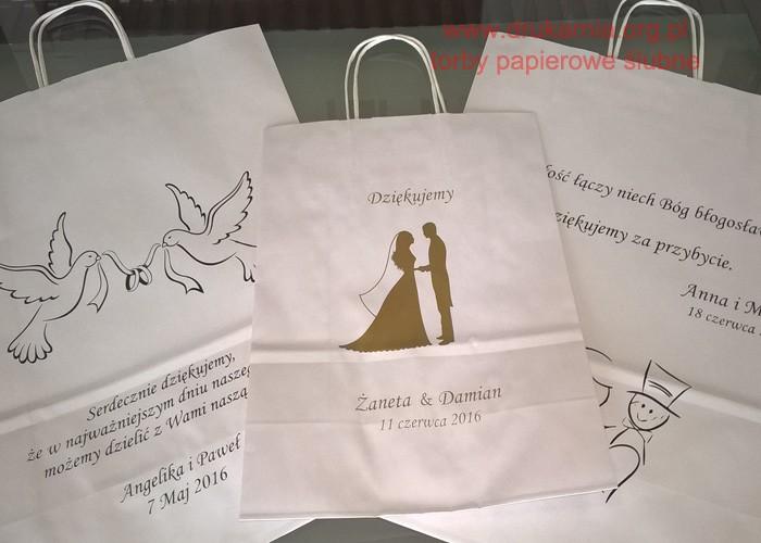 Torby papierowe ślubne, torebki weselne na ciasto, alkohol